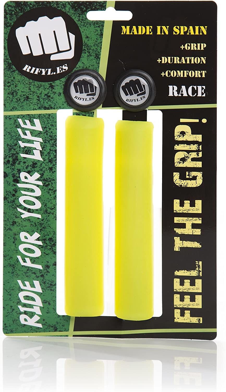 RIFYL (Race) Juego de puños para Bicicleta o Mountain Bike, Color Amarillo, diámetro 30,5mm: Amazon.es: Deportes y aire libre