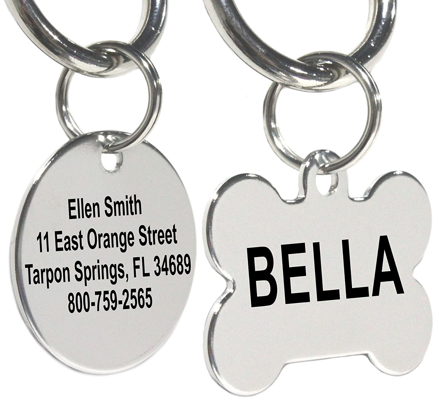 Stainless Steel Pet ID Tags for Dogs and Cats by Providence Engraving: Bone, Round, Heart, Rectangle, or Star. Up to 8 Custom Lines of Text - Front and Back