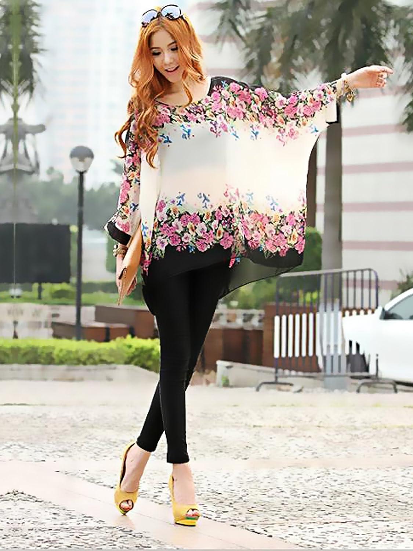 Women Bohemian Style Tops Oversized Dolman Sleeve Floral Chiffon Jfashion Korean Spandek Wing Blouse Shirt At Amazon Womens Clothing Store