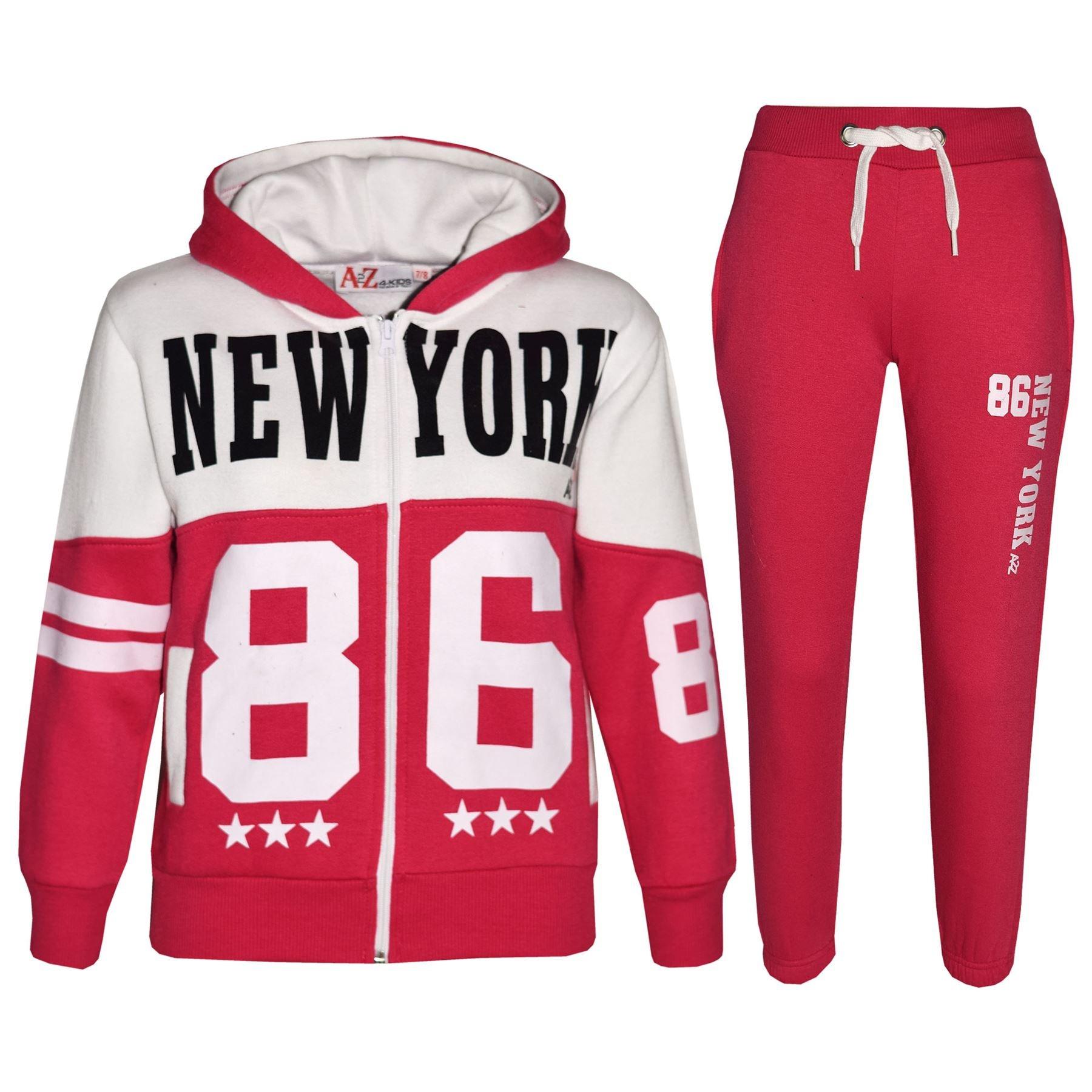 GIRLS BOYS NEW YORK DESIGNER TRACKSUIT HOODED TOP JOGGING BOTTOMS KIDS 2PCS SET