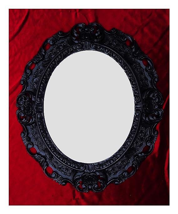 Espejo De Pared Negro Ovalado 45 X 38cm Barroca Antiguo Reproducción Vintage 345 Muebles Antiguos Y Decoración