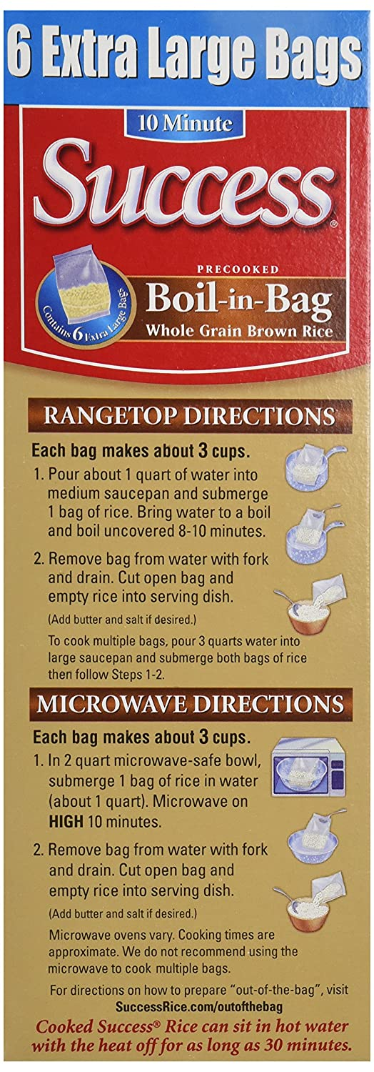 Amazon Success Rice Boil In Bag Brown Rice 6 Large Bags Net