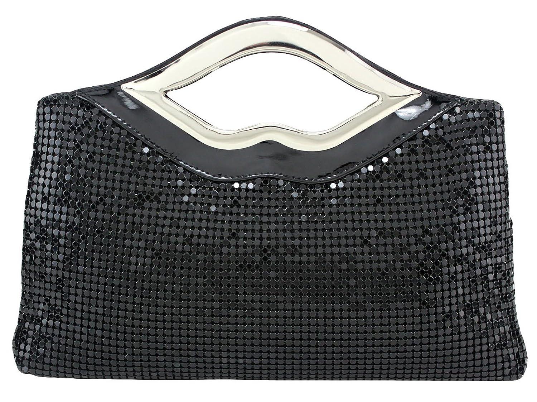 Stylebek Women's Modern Sequins Handle Clutch Black One Size