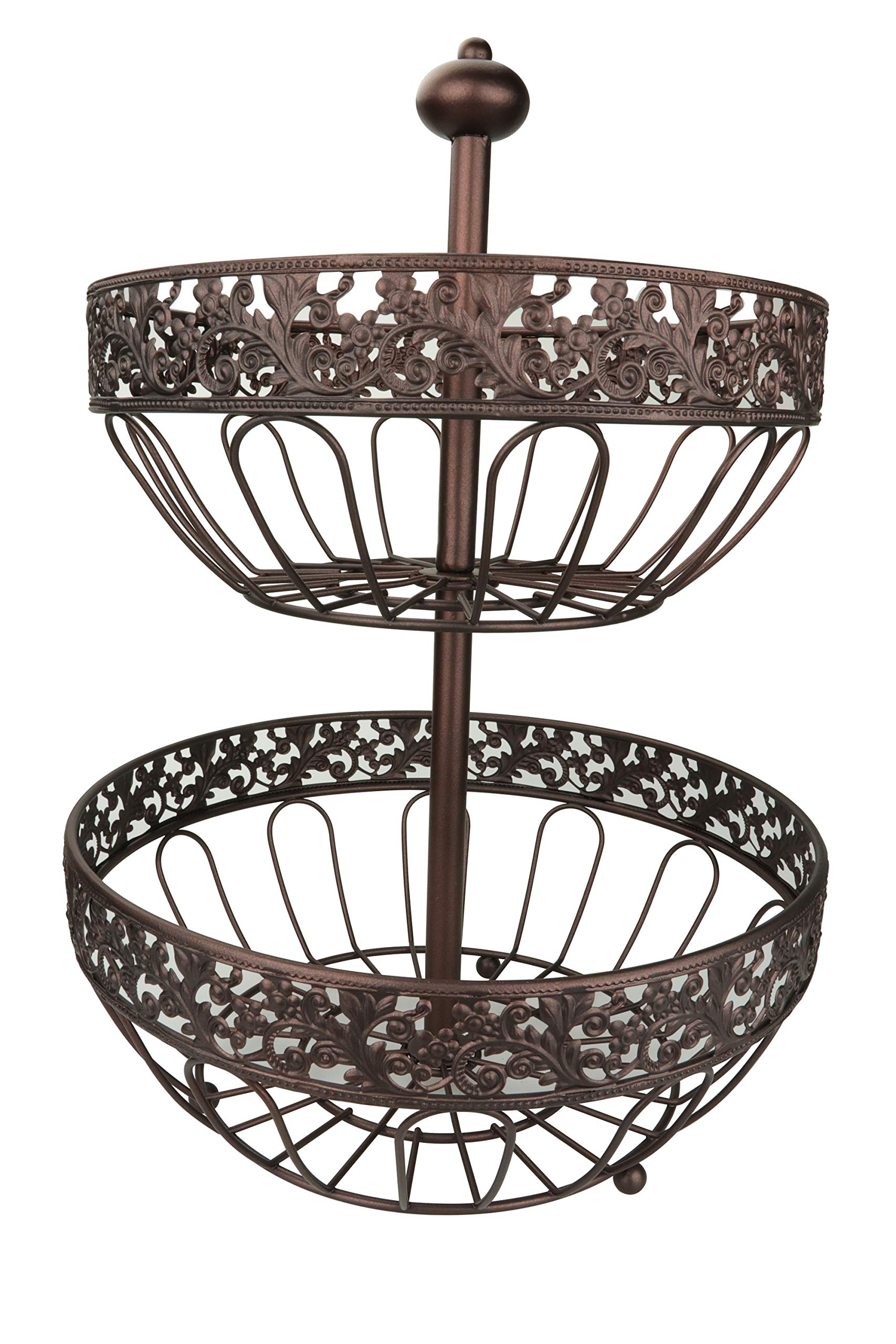 RosyLine 2-Tier Fruit Basket home Fruit Basket Decorative Display Stand, Multi purpose bowl, Home accent furnishings by DongJiang (Image #2)
