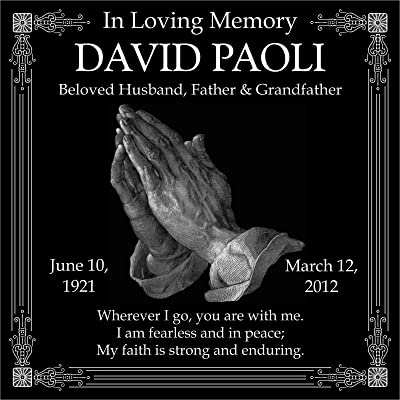 Lazzari Collections Custom Made Personalized Praying Hands Memorial 12x12 Inch Engraved Black Granite Grave Marker Headstone Stone Plaque DP1 : Garden & Outdoor