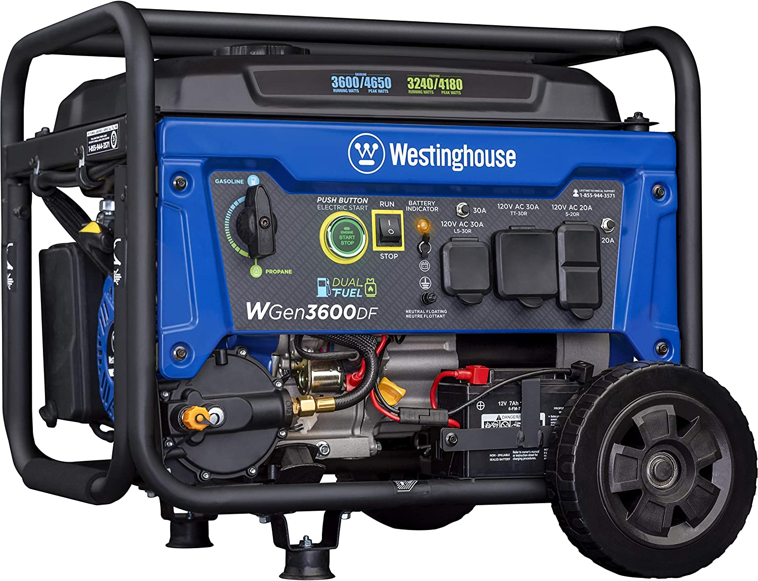 Westinghouse WGen3600DF Dual Fuel (Gas and Propane) Electric Start Portable Generator 3600 Rated 4650 Peak Watts, RV Ready, CARB Compliant