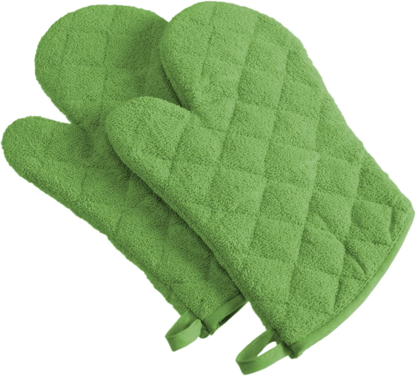 DII 100% Cotton Terry Oven Mitt Set, Ovenmitt, Green Apple, 2 Piece