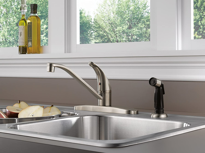 Kingston Brass Gourmetier KBS1578SP Kitchen Faucet Sprayer White Sprayer with Satin Nickel Flange