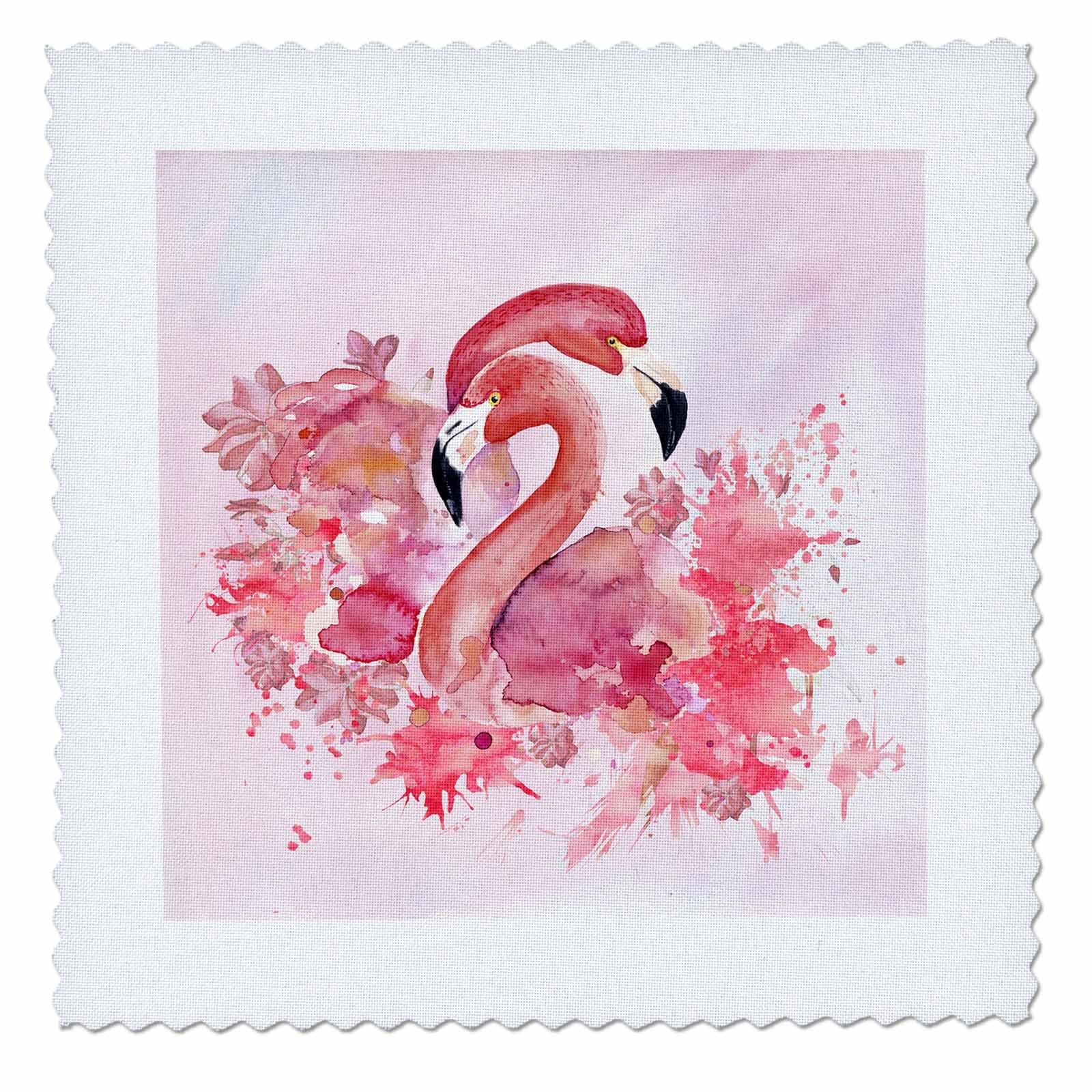 3dRose Uta Naumann Watercolor Illustration Animal - Two Beautiful Pink Flamingos Watercolor Anima Illustration - 22x22 inch quilt square (qs_266992_9)