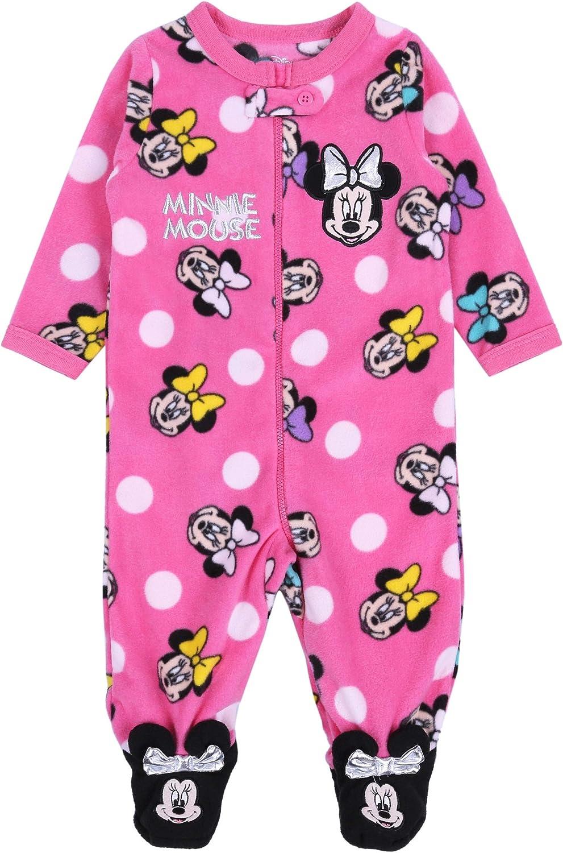 Pink Sleepsuit for Baby Girls Minnie Mouse Disney Fleece Pyjama