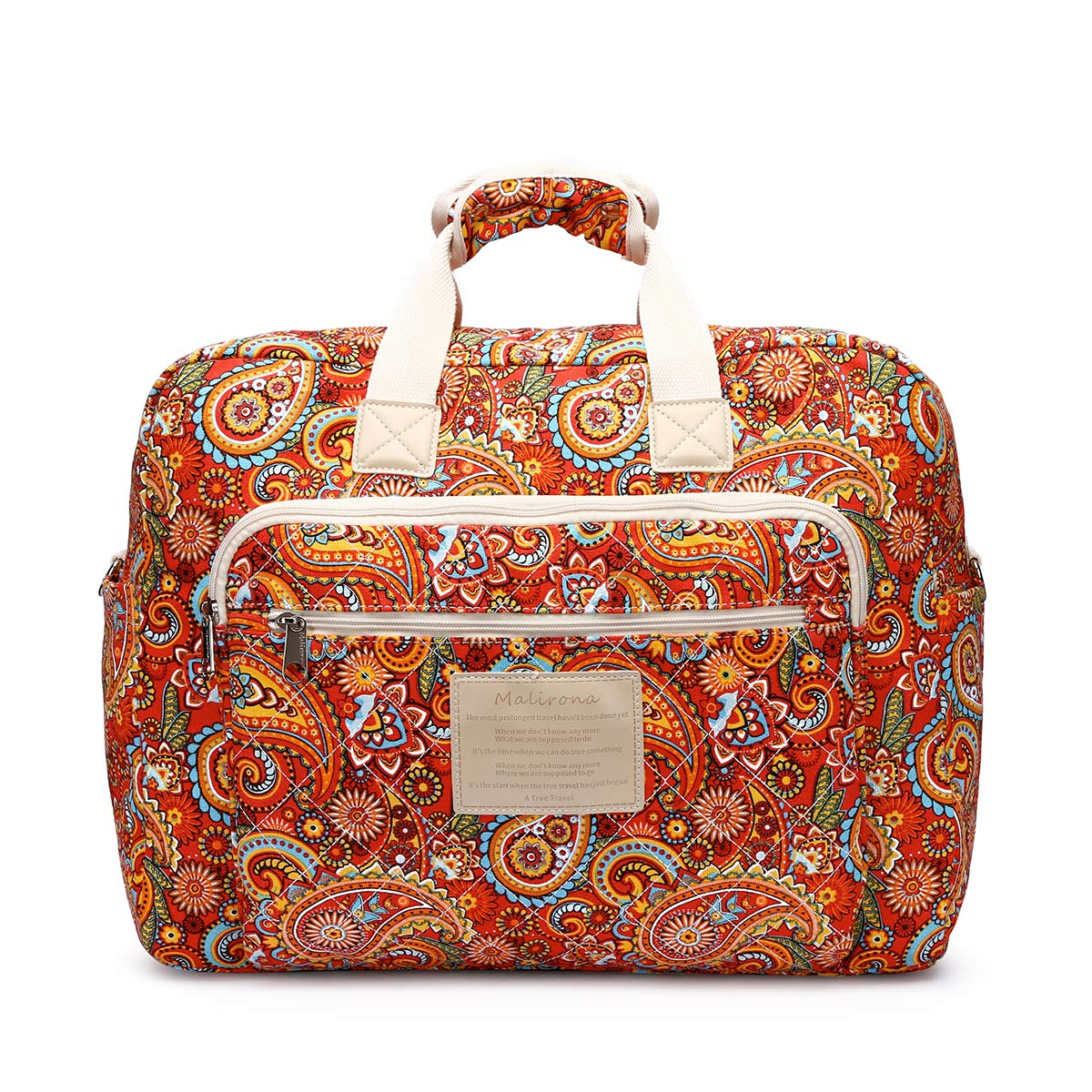 1ccc1d3a3e7b Malirona Women's Canvas Overnight Weekender Bag Carry On Travel Duffel Tote  Bag Bohemian Flower (Red Flower)
