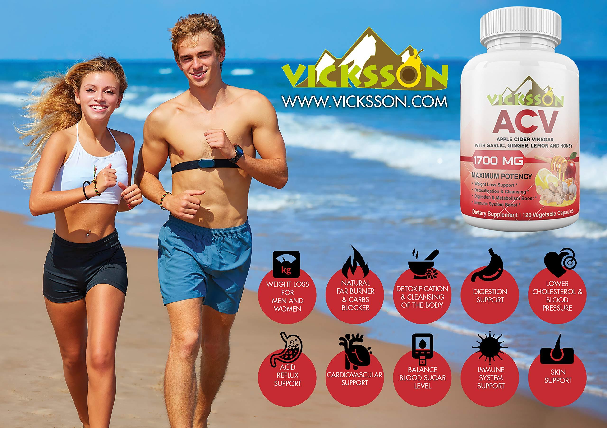 Vicksson Apple Cider Vinegar Pills 1700 mg of ACV with Garlic, Ginger, Lemon & Honey for Weight Loss, Detox, Cleanse, Appetite Suppressant, Metabolism & Immune Booster, Bloating Relief | 120 Capsules