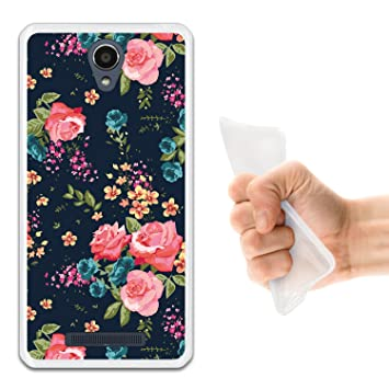 WoowCase Funda para Xiaomi Redmi Note 2, [Xiaomi Redmi Note 2 ] Silicona Gel Flexible Flores Rosas Vintage, Carcasa Case TPU Silicona - Transparente