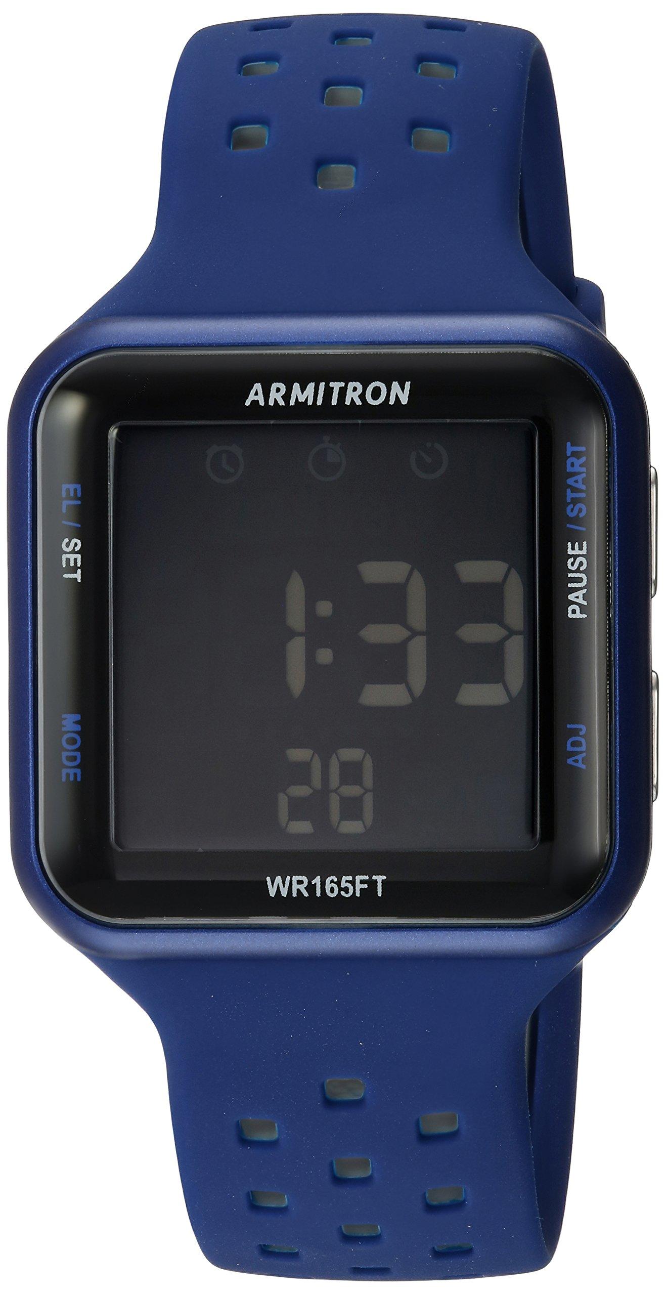Armitron Sport Unisex 40/8417BLU Grey Accented Digital Chronograph Blue Perforated Silicone Strap Watch