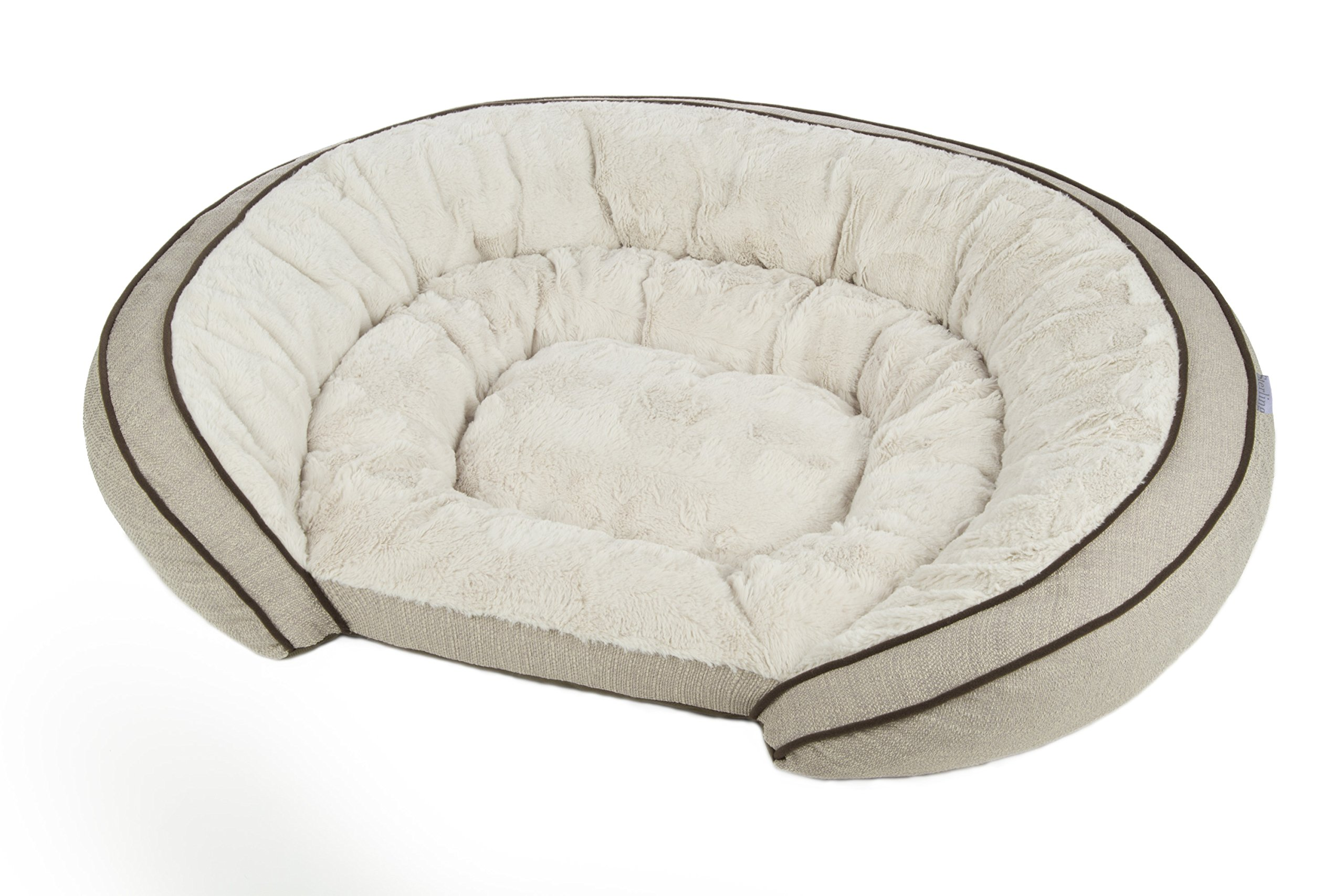 Sterling Premium Cooling Gel Memory Foam Pet Bed, Plush with Woven Linen, Beige by Sterling
