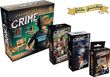 Juego de mesa Chronicles of Crime Base + Welcome to Redview Expansion + Noir Expansion + Virtual Reality Module anteojos – Bundle por Golden Groundhog.: Amazon.es: Juguetes y juegos