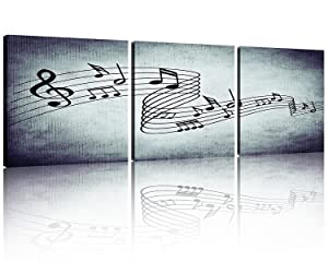 NAN Wind Modern Music Posters Beating Stretched and Framed Music Notes Decor Paintings on Canvas Wall Art Ready to Hang for Living Room Bedroom Home Decorations 3Pcs