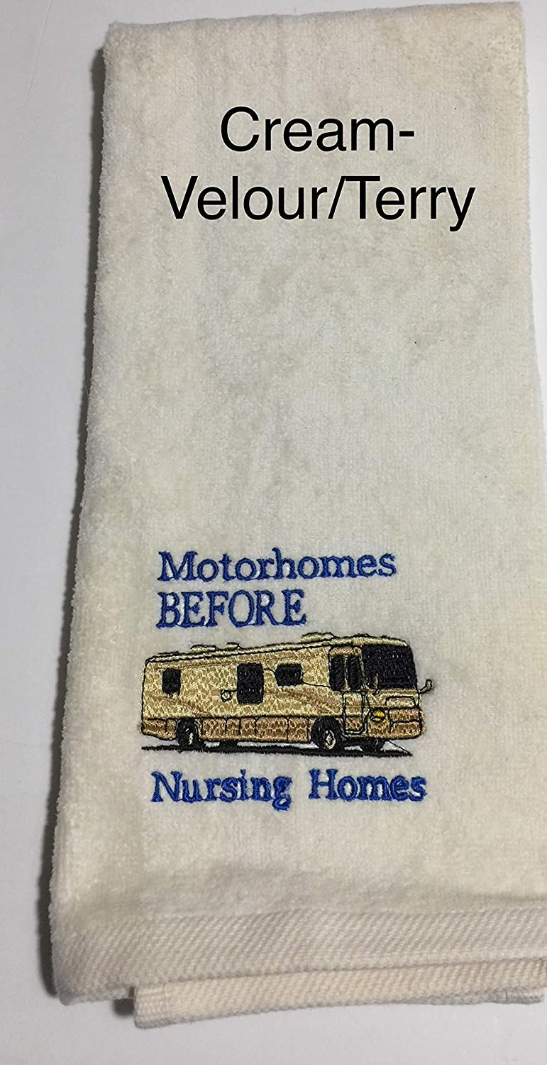 Embroidered Motorhomes Before Nursing Homes Class A Motorhome Hand Towel