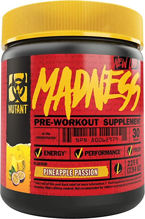 Mutant Madness - Redefines the Pre-Workout Experience and Takes it to a Whole New Extreme Level, Engineered Exclusively for High Intensity Workouts, 225g – Pineapple Passion