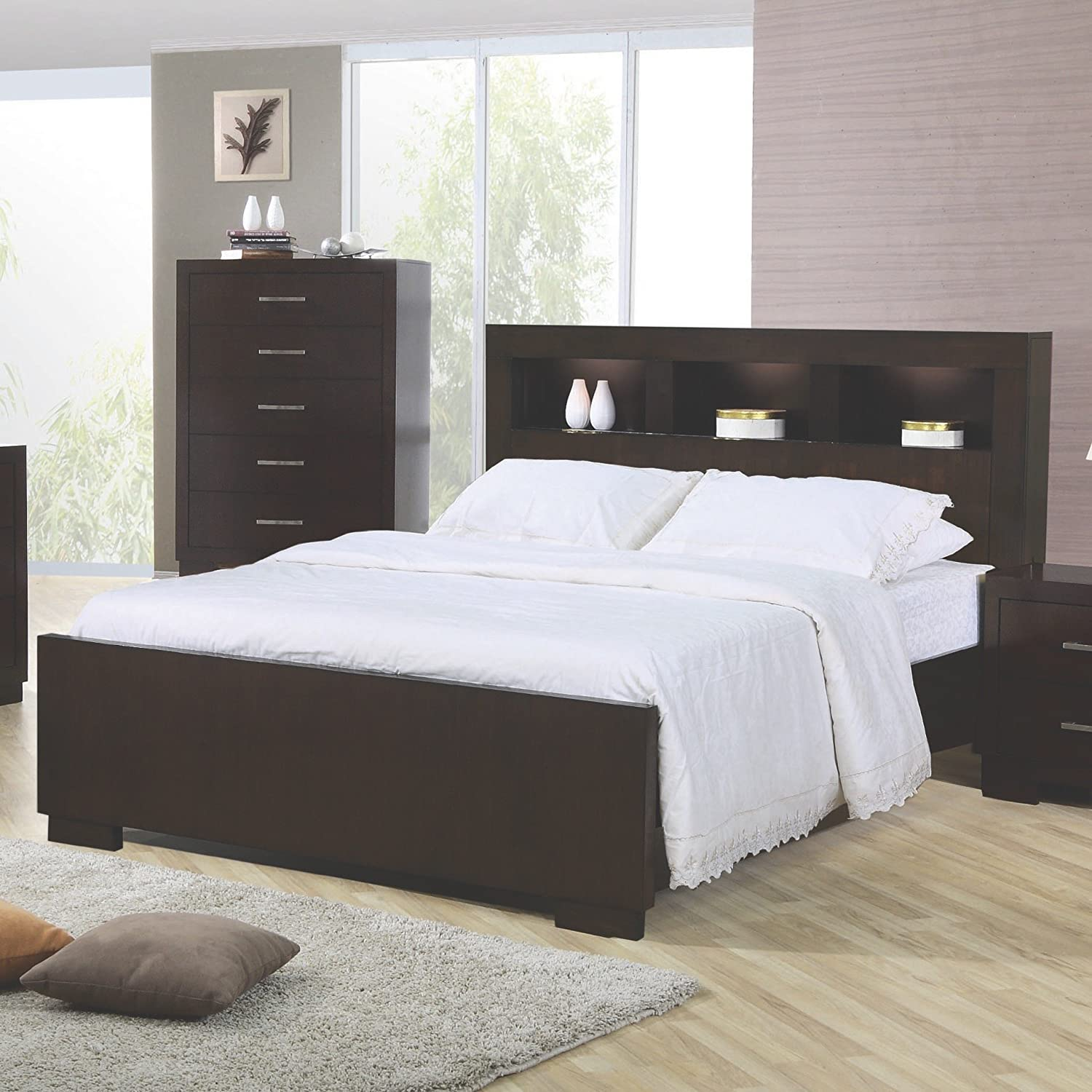 Jessica California King Bed with Storage Headboard and Built in Lighting  Cappuccino