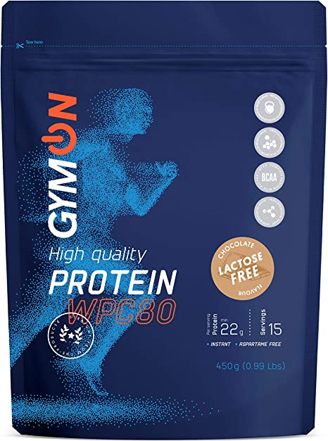 GYMON Lactose Free Whey Protein. Concentrado de proteína de suero de leche, 450g (Chocolate)