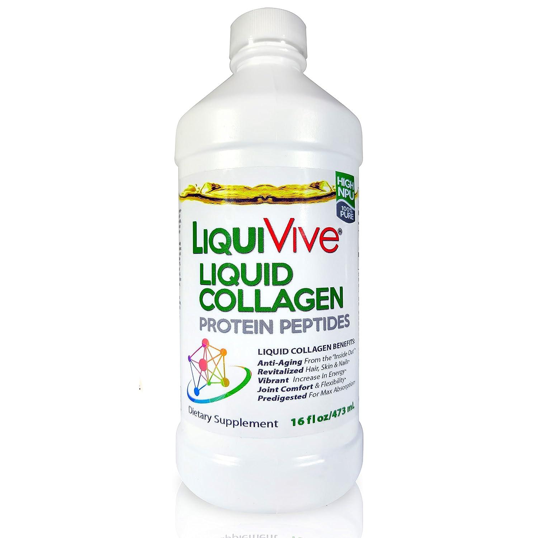 LiquiVive Liquid Collagen Protein Peptides Hydrolyzed Supplement - Pure Super Multi Collagen Hydrolysate Drink   Higher Absorption Than Collagen ...