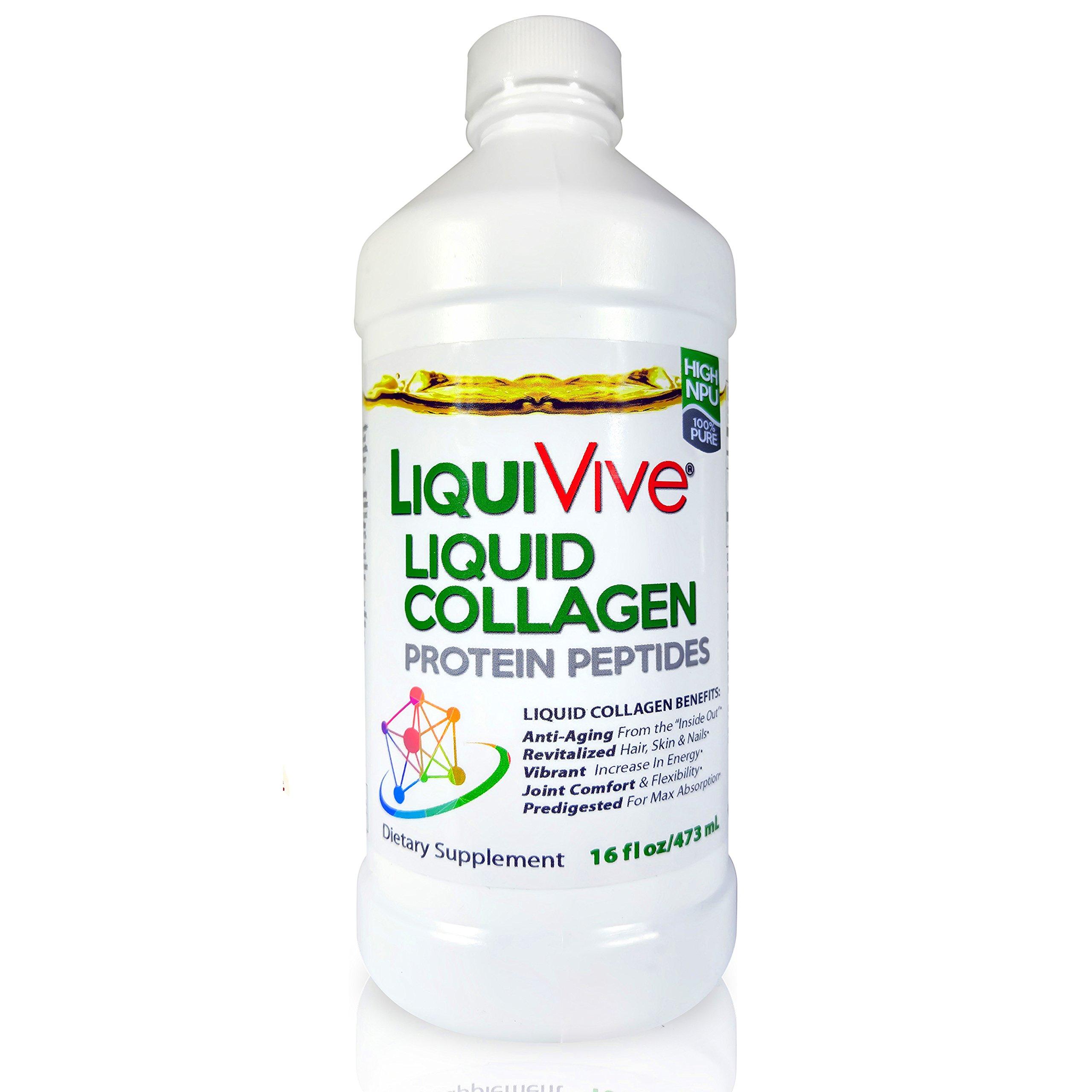 LiquiVive Liquid Collagen Protein Peptides | Pure Hydrolyzed Super Multi Collagen Hydrolysate Drink | Higher Absorption Than Collagen Powder Pills & Capsules | Colageno Liquido Hidrolizado