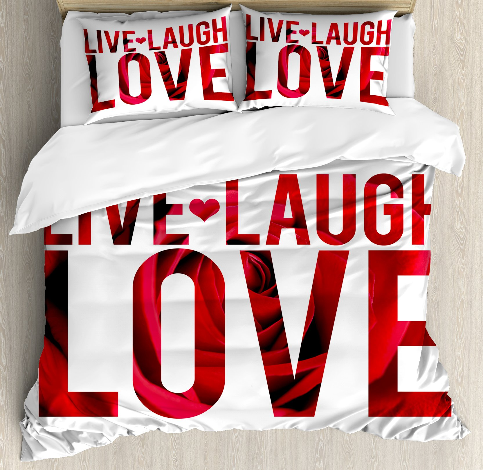 Live Laugh Love Decor Duvet Cover Set King Size by Ambesonne, Typographic Montage Words with Macro Rose Petals Texture Print, Decorative 3 Piece Bedding Set with 2 Pillow Shams, Red White Black