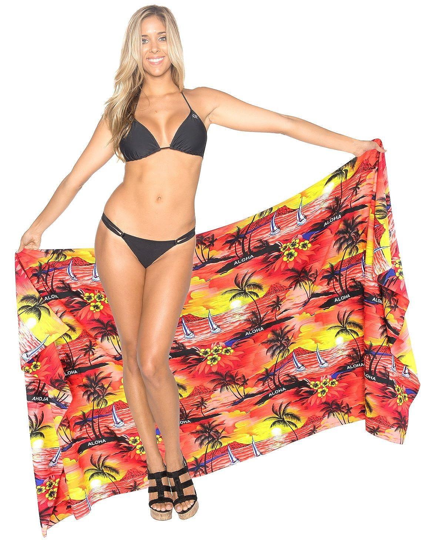 La Leela soft likre 88x39inch alle in einem Strand loung Abnutzung/Badeanzug Tunika/sundress/Bikini Schlitz Rock/Damen rot vertuschen/Verpackung Pareo/plus Größe Badeanzug Sarong Kleid 223x99 cm