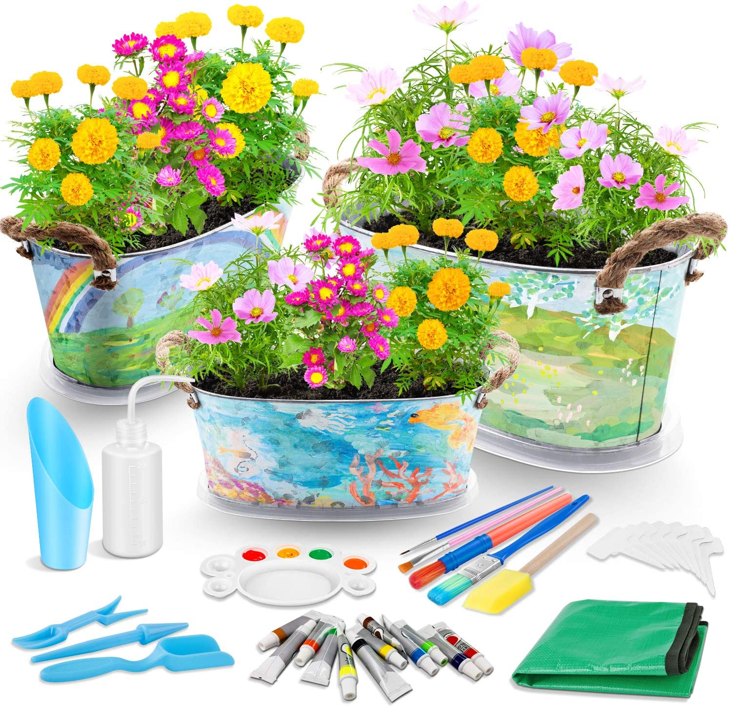 Kids Flower Planting Growing Garden Kit - Richoose Kids Gardening Plant and Paint Arts Crafts Set for Kids All Ages Both Girls and Boys Science STEM