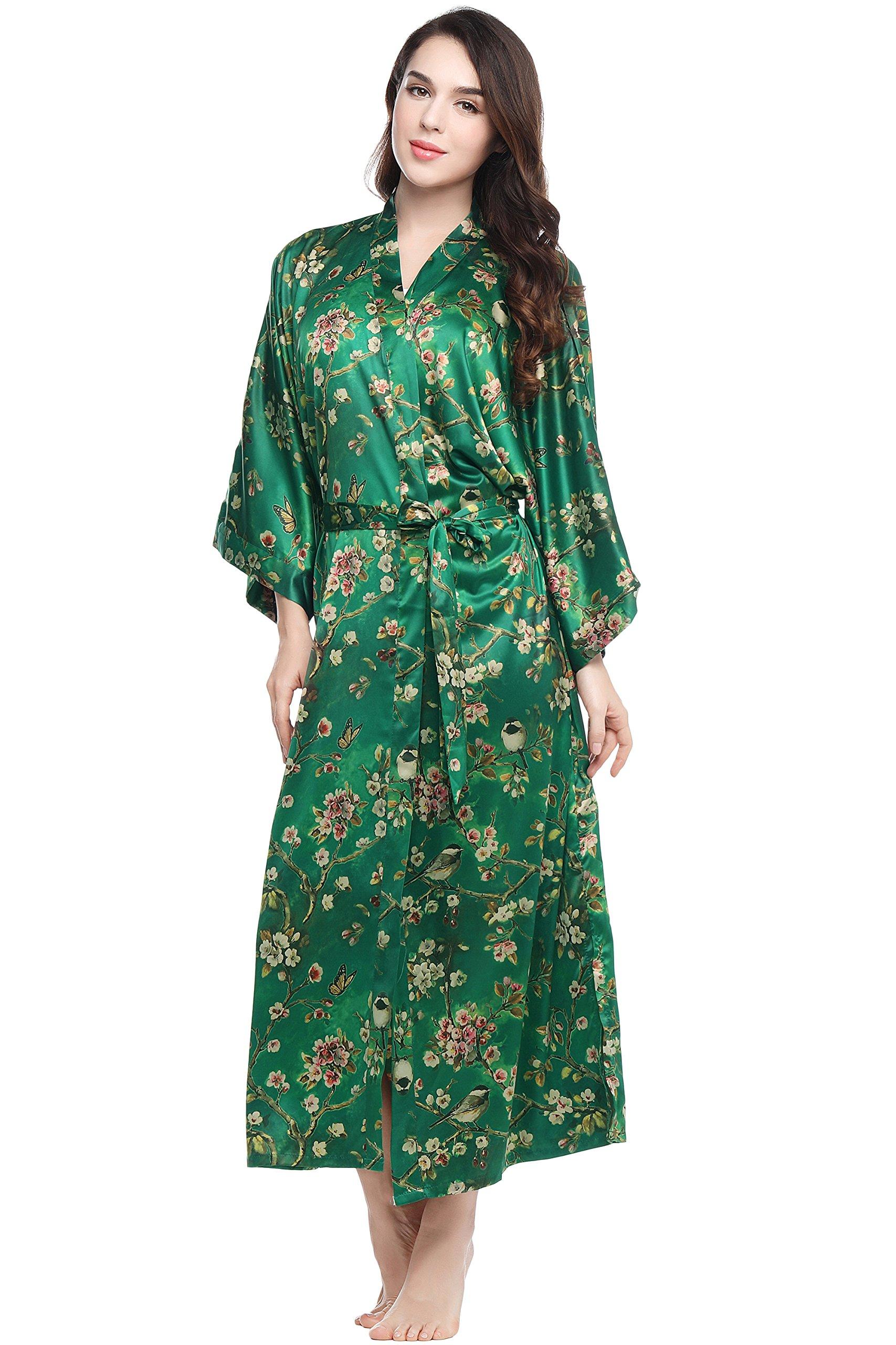 BABEYOND Floral Kimono Robe Satin Silk Wedding Robe Nightgown Sleepwear 53'' Long (Plum Blossom-Green)