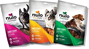 Nulo Puppy & Adult Freestyle Jerky Dog Strips Variety Pack: Natural Healthy Real Meat Grain Free Dog Treats for Training or Reward - 3 x 5 oz Bags (Chicken, Beef, Duck)