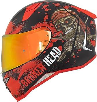 Broken Head Jack S V2 Pro Integral Helm Rot Set Incl Gratis Rot Verspiegeltem Visier Sport Motorrad Helm Auto