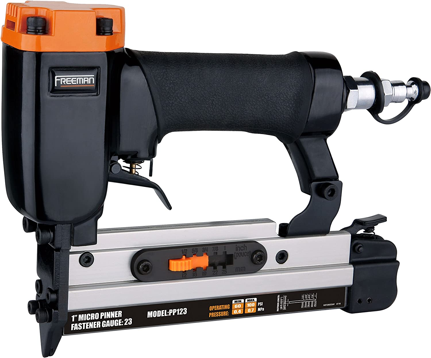 Freeman PP123 Pneumatic 23-Gauge 1 Micro Pinner Ergonomic and Lightweight Nail Gun with Safety Trigger and Pin Size Selector for Crafts, Moulding, and Picture Frames