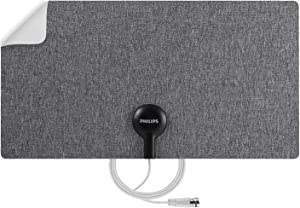 Philips Ultra-Thin Fabric HD TV Antenna, Reversible Dark Gray Fabric White Design, Supports 4K 1080P VHF UHF, Long Range Indoor Digital HDTV Antenna, Smart TV Compatible, SDV3219N/27