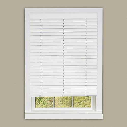 PowerSellerUSA Achim Home Furnishing Cordless GII Luna 2 Slat White Venetian Window Blinds 29 W x 64 L