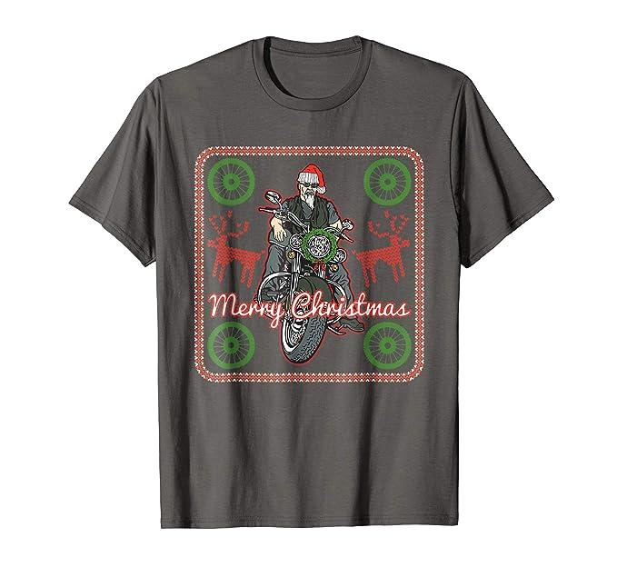 Amazon.com: Biker Ugly Christmas Motorcycle T-shirt Gift Idea for ...