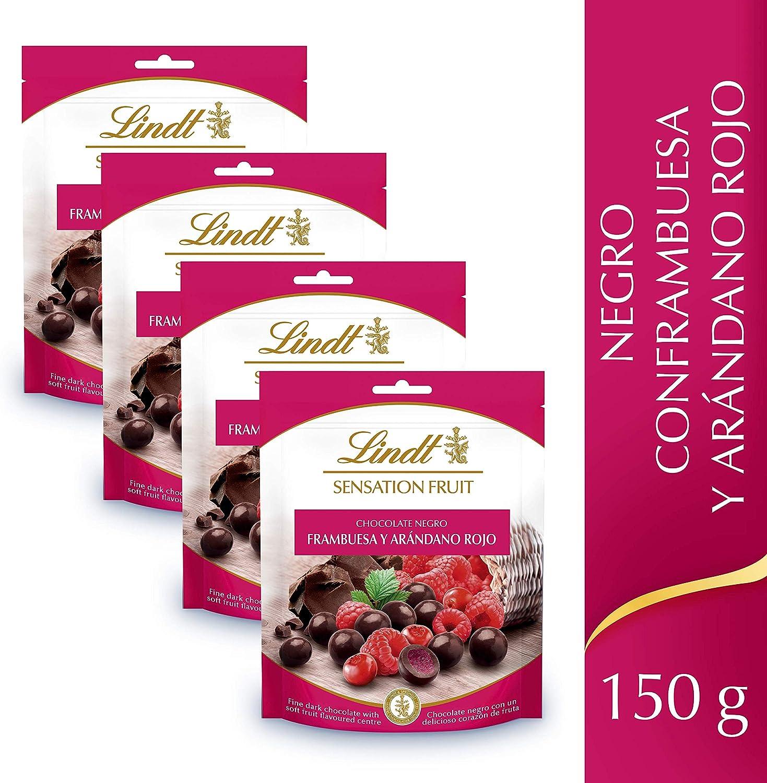 Lindt Sensation Fruit Chocolate Negro con Frambuesa y Arándano Rojo - 150 g, pack de 4: Amazon.es: Alimentación y bebidas