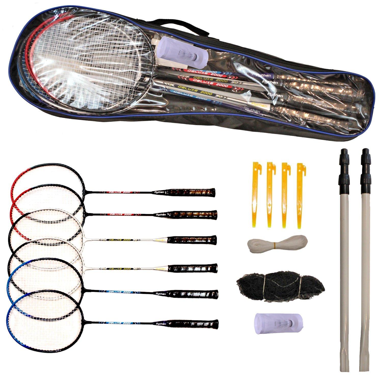 Python Ultimate Badminton Starter Set (Kit)(+2 Bonus Racquets/6 Total, Net & Poles)