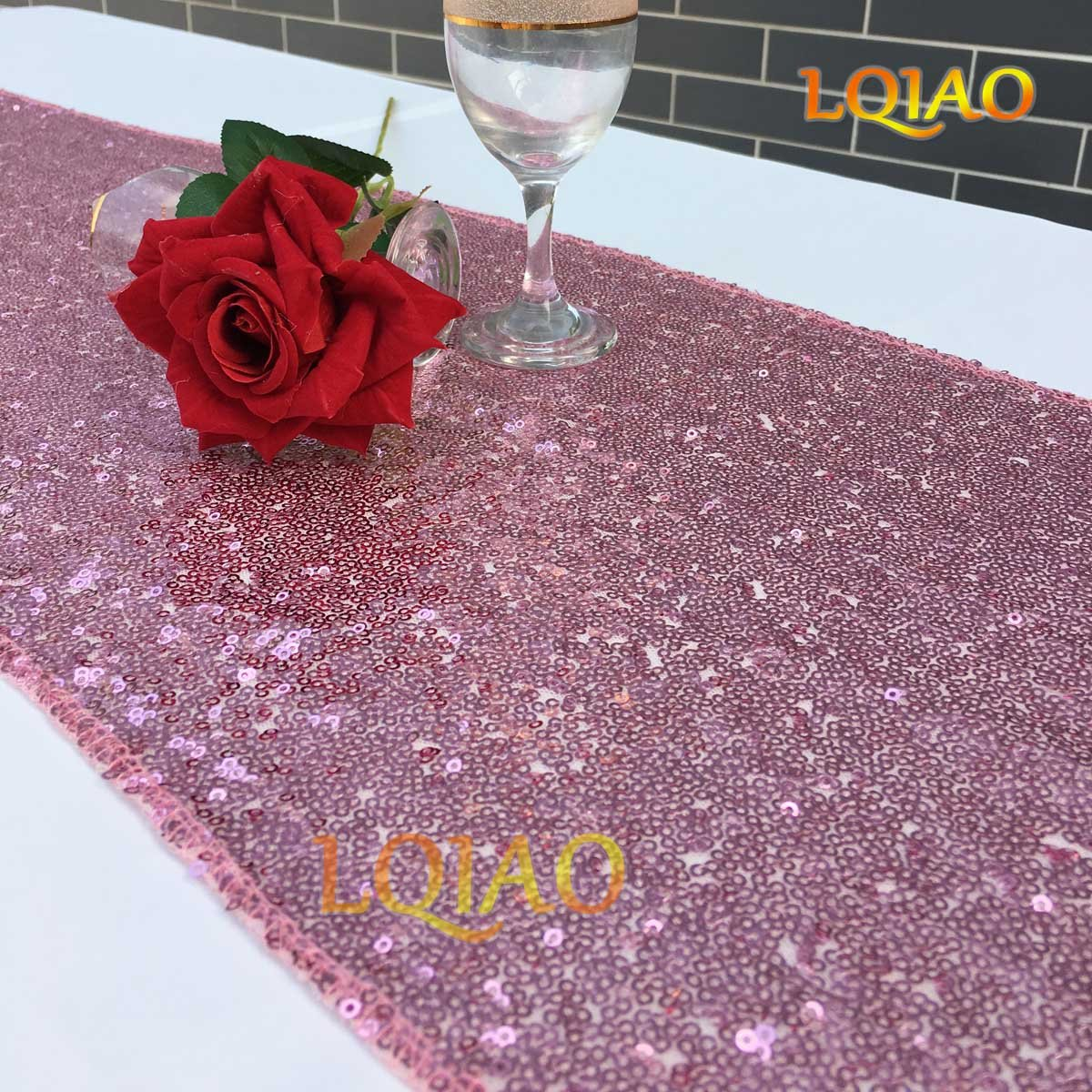 LQIAO Sequin Table Runner Pink Gold 12x108-in, Factory Best Sparkly Table Runner High End Party/Wedding/Christmas Decoration, Pack of 20 PCS by LQIAO