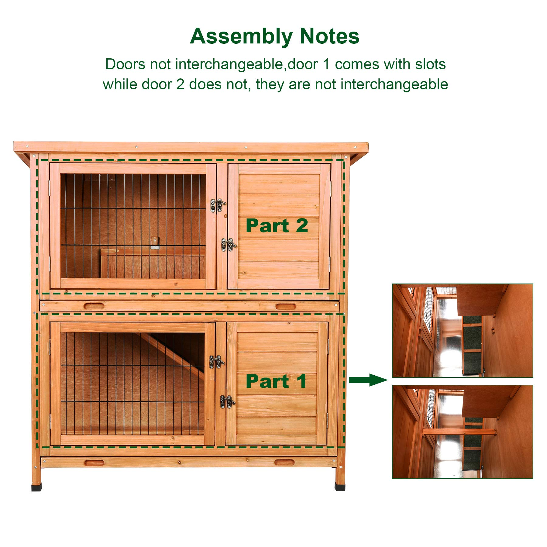 CO-Z 2 Story Outdoor Wooden Bunny Cage Rabbit Hutch Guinea Pig House in Nature Color with Ladder for Small Animals by CO-Z (Image #7)