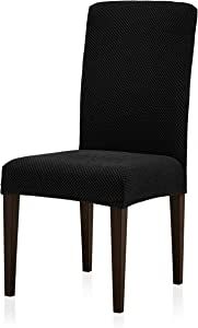 subrtex Jacquard Dining Room Chair Slipcovers Sets Stretch Furniture Protector Covers for Armchair Removable Washable Elastic Parsons Seat Case for Restaurant Hotel Ceremony (2, Black)