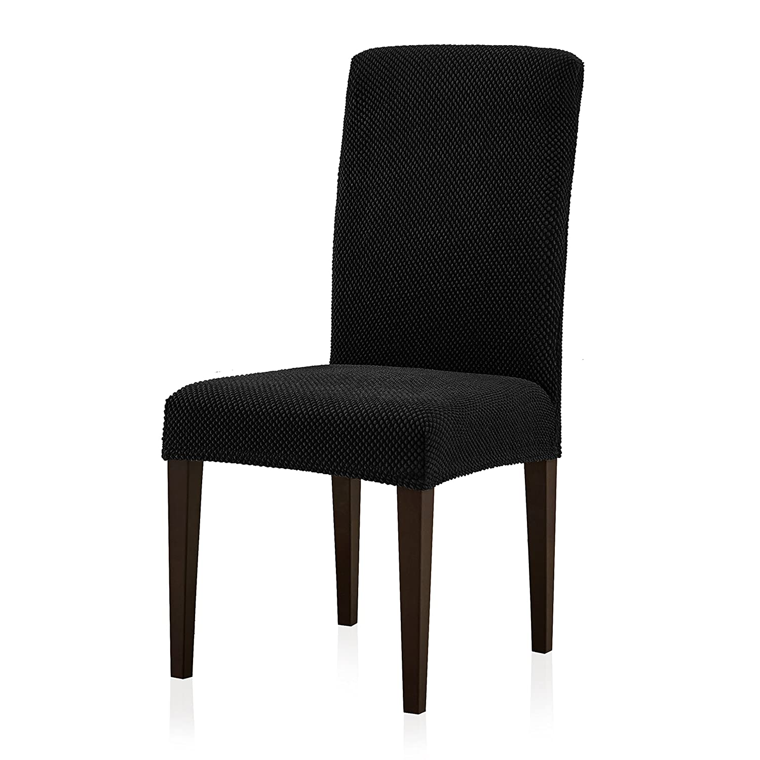 Subrtex Jacquard Dining Room Chair Slipcovers Sets Stretch Furniture Protector Covers for Armchair Removable Washable Elastic Parsons Seat Case for Restaurant Hotel Ceremony (4, Black)