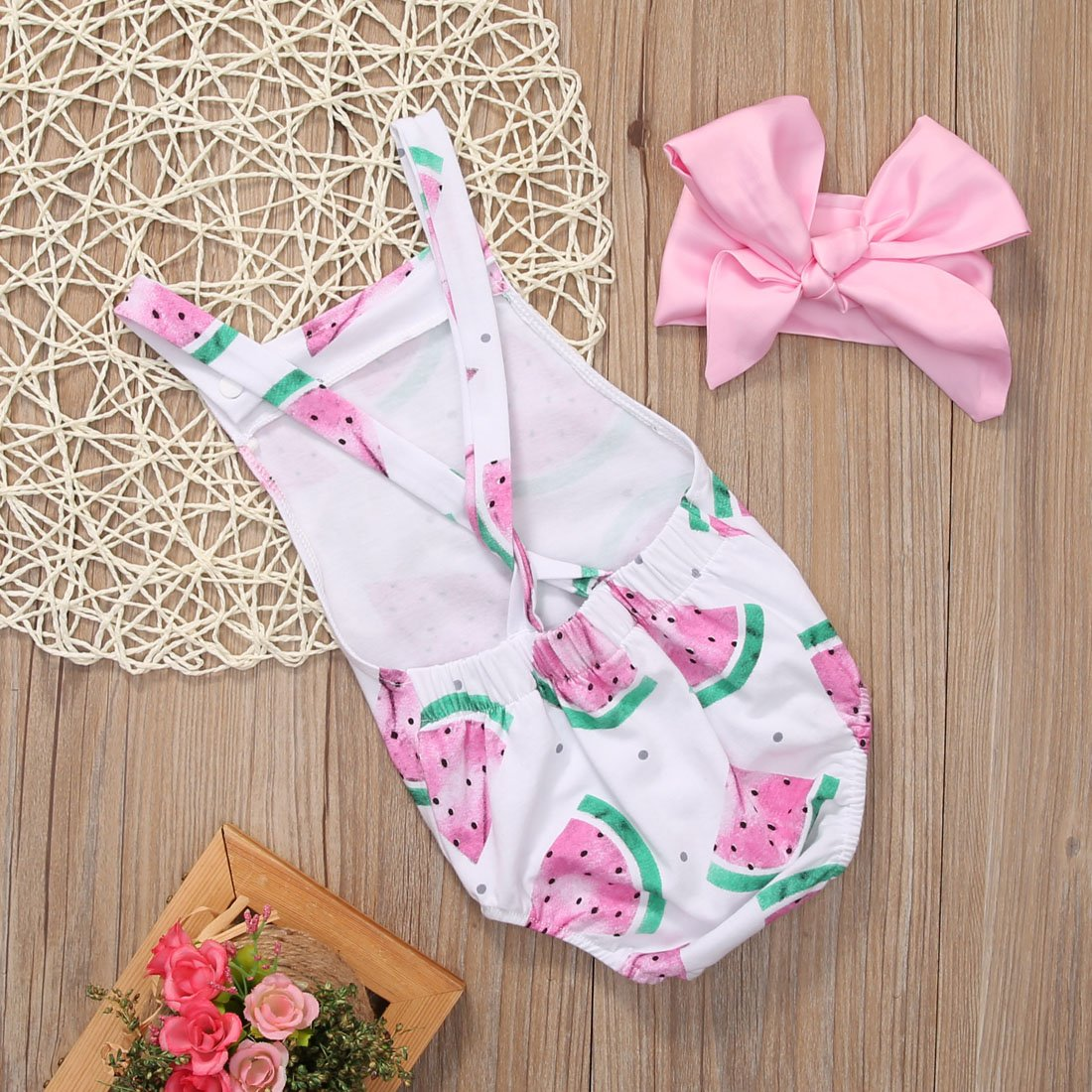 Canis Baby Girls Watermelons Print Backless Ruffle Bodysuit with Headband
