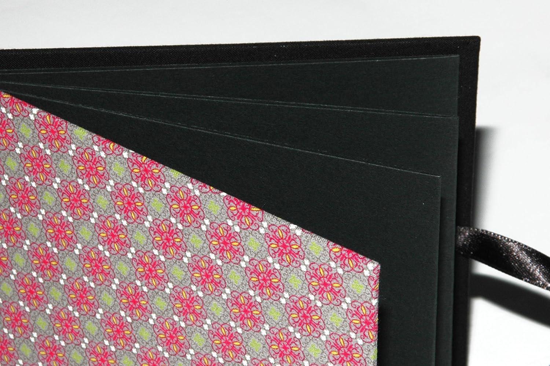 Leporello Fotoalbum mit Stoff 15x15cm schwarze Seiten