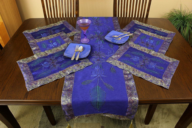 ハンドペイント7ピースプレースマット&テーブルランナーセット ブルー  キング ブルー(King Blue) B00BEBT4JC