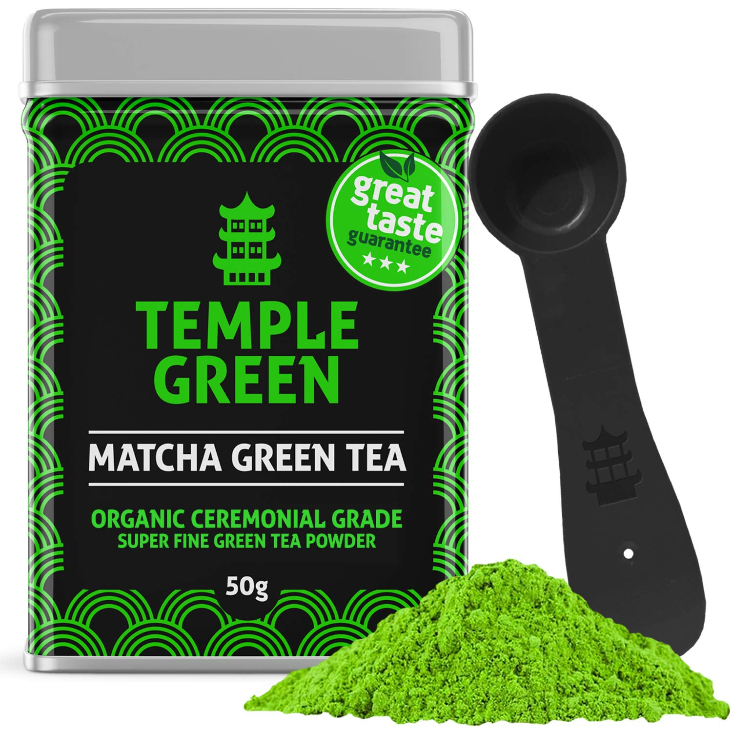 Temple Green Matcha Green Tea - Genuine Ceremonial Japanese Powder for Mood Energy Focus - All Organic Stone-Ground Ingredients for Health, Skin & Metabolism - Easy Mix Great Taste 50g Spoon & Guide