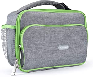 Amersun Kids Lunch Box, Durable Insulated School Lunch Bag with Padded Liner Keeps Food Warm Cold Longer Time,Small Water-Resistant Thermal Travel Office Lunch Cooler for Boys Girls -2 Pockets, Gray