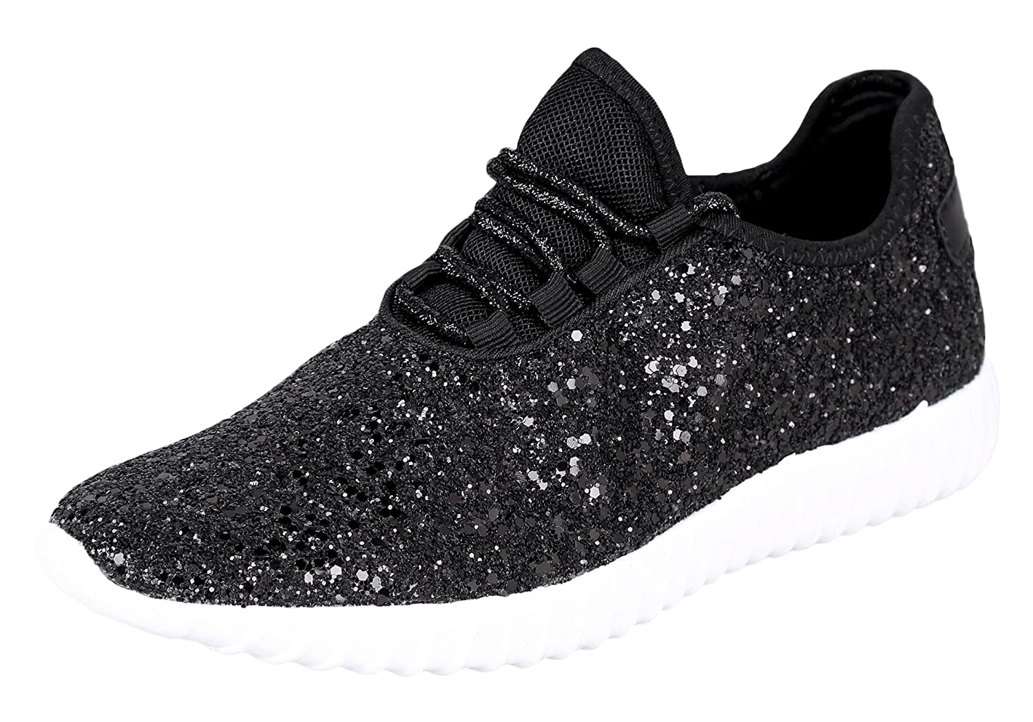 Forever Link Women Fashion Light Weight Glitter Metallic Leatherette Quilted Lace Up Low Top Stylish Sneaker by Forever Link