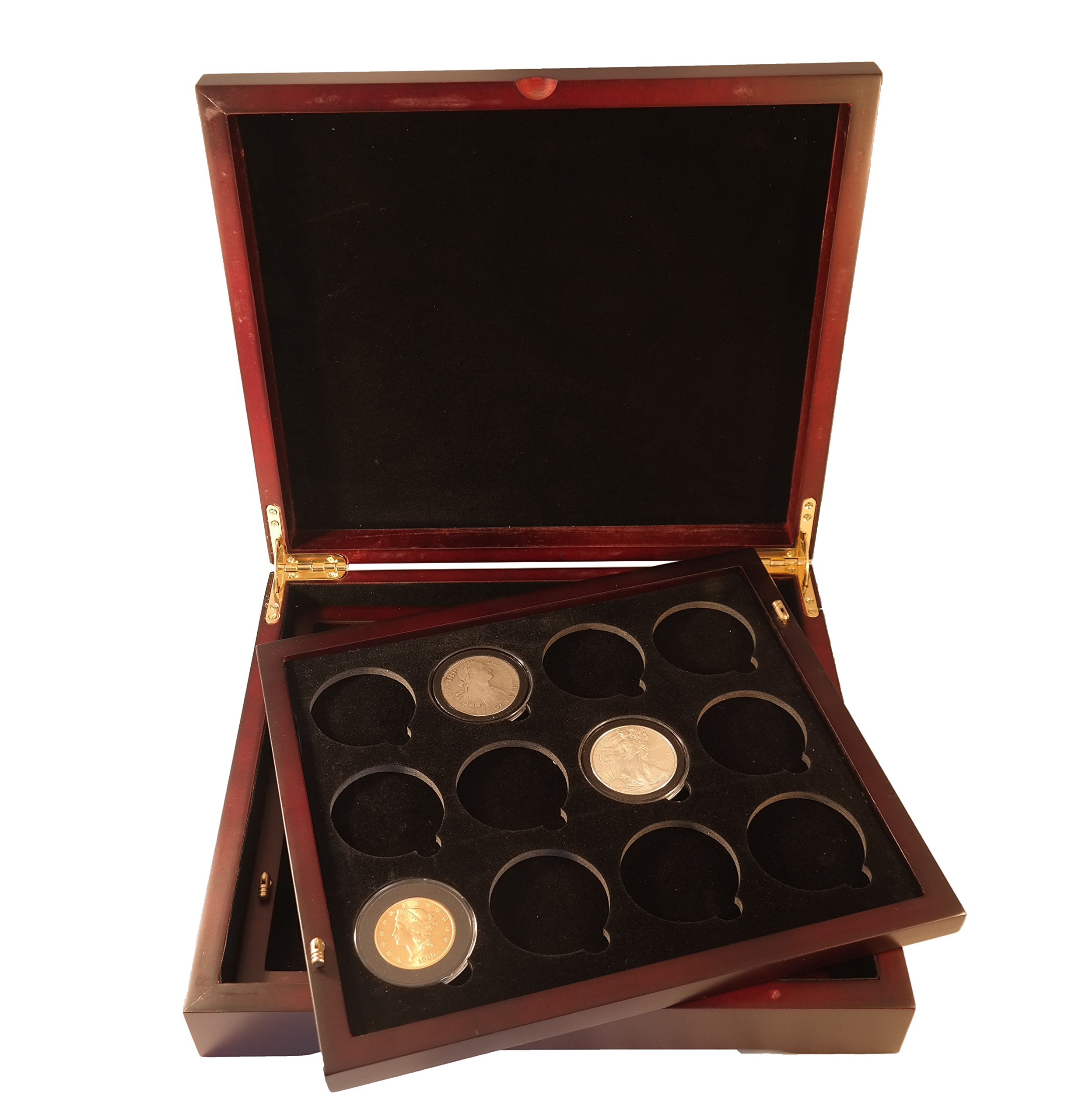 Coin Tray for 12 Extra Large or Air-Tite ''I'' Capsules / 2'' Challenge Coins fits in Mahogany Finish Wood Display Case by Guardhouse (Image #4)